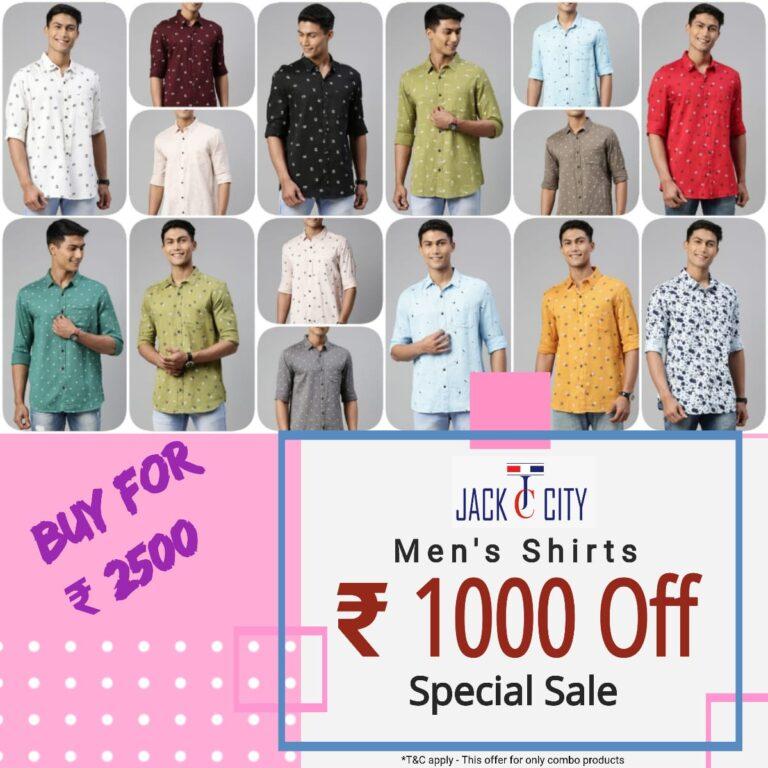 Men's Casual Shirts ₹ 1000 flat off